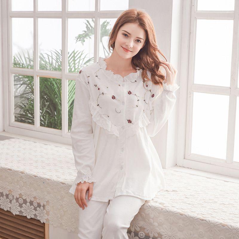 9866d7d03e500 2019 Breastfeeding Pyjama Maternity Nursing Clothes Maternite Pregnant  Sleepwear Cotton Maternity Nightgown Women Nursing US Style From Bradle, ...