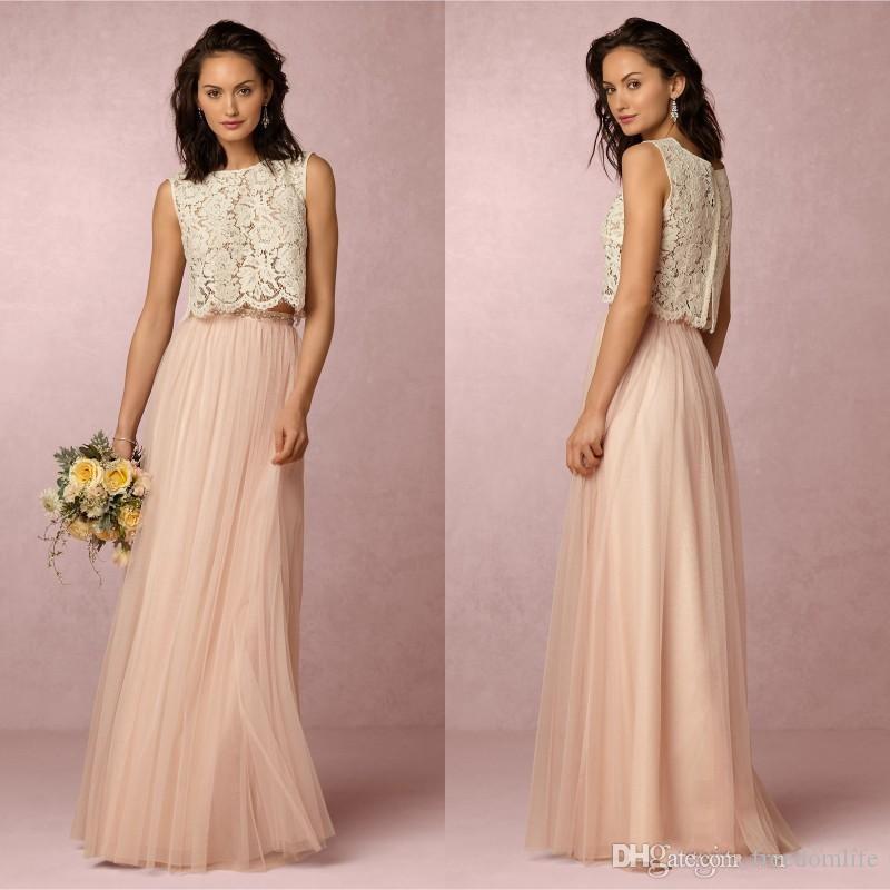 Grosshandel Vintage Blush Pink Zwei Stucke Brautjungfer Kleider