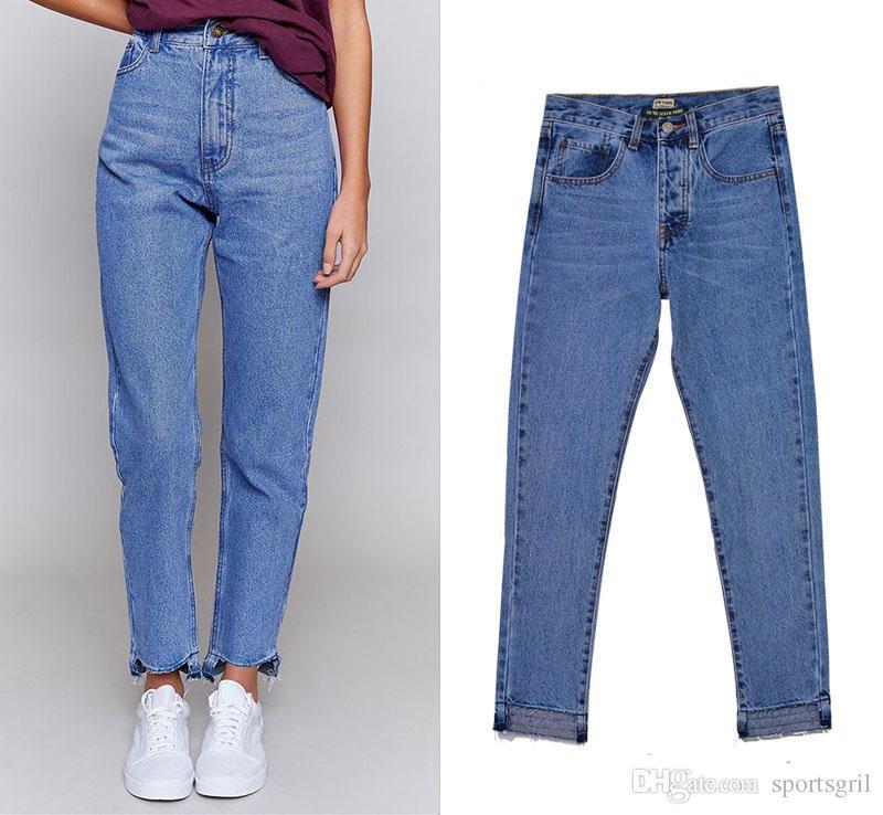 Compre Chica Azul Jeans Sueltos Mujer Novio Pantalones De Mezclilla Pantalones Vaqueros Rectos De Diseno De Cintura Alta Abertura Irregular Pierna Pantalones Casuales Femeninos Xxs Xxl Sz A 35 07 Del Sportsgril