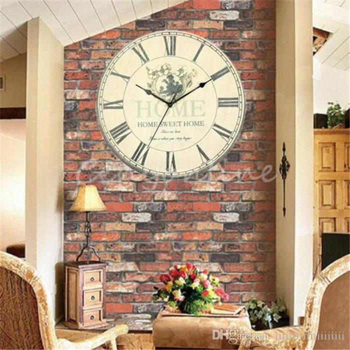 Large Wall Clock Flower Vintage Rustic Design Home Office Cafe Bar ...