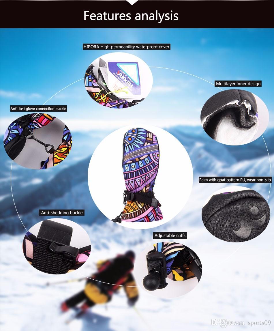 Mujeres esquí diseñador Groves cuero de LA PU conducción de la motocicleta impermeables guantes de esquí Invierno cálido gruesa guante de nieve guantes de snowboard