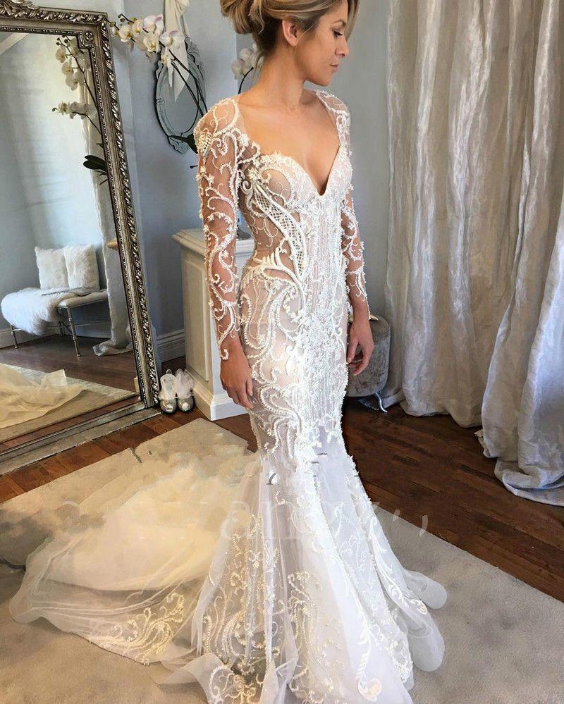 Wedding Dresses With Sweetheart Neckline And Sleeves: Illusion Long Sleeve Mermaid Wedding Dresses Sweetheart