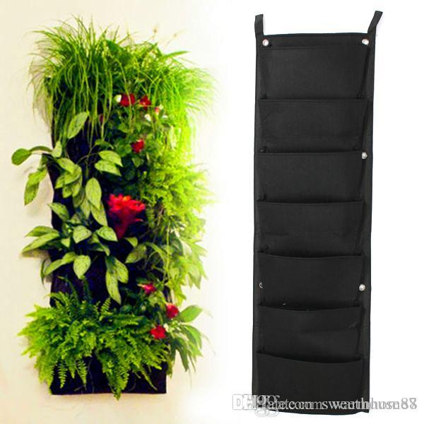 7 pockets flower pots planter on wall hanging vertical felt garden 7 pockets flower pots planter on wall hanging vertical felt garden plant decor green field grow container bags garden supplies flower planters plant grow workwithnaturefo