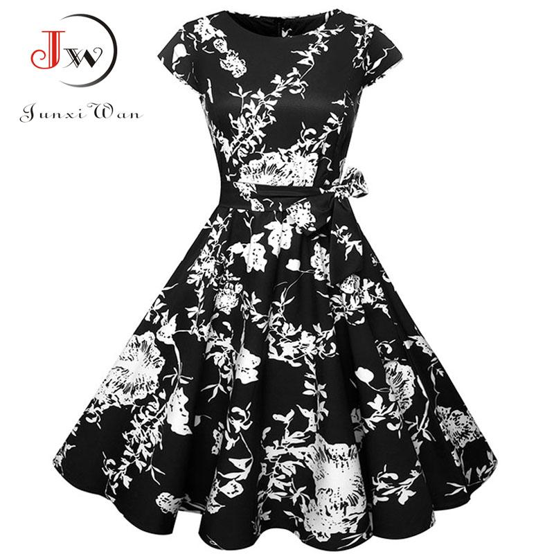 Plus Size Women Summer Dresses Vintage 50s 60s Robe Retro Pin Up Swing  Floral Polka Dot Rockabilly Dress Elegant Party Dress
