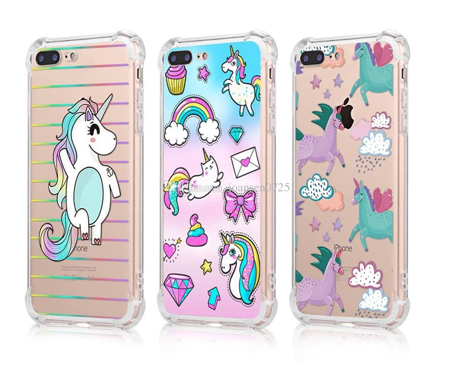 Stoßfest Weiche TPU Telefonkasten für iPhone X 6 6S 7 8 Plus Xs Max Xr Samsung Galaxy S7 Rand S8 S9 Hinweis 8 Cute Unicorn Painted Case Cover
