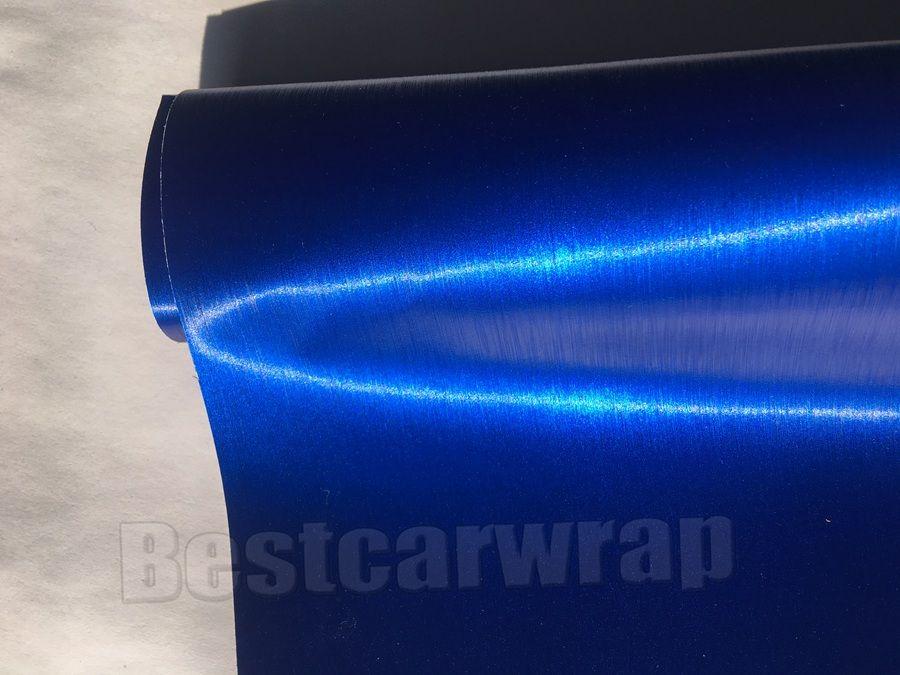 Tiefes Blau gebürstetes Matt-Chrom-Vinyl für Auto-Verpackung, die mit Luftblase bedeckt Freie Bürstenautoverpackung, die Frisurenfolie beschichtet: 1.52 * 20M / Rolle 5x66ft
