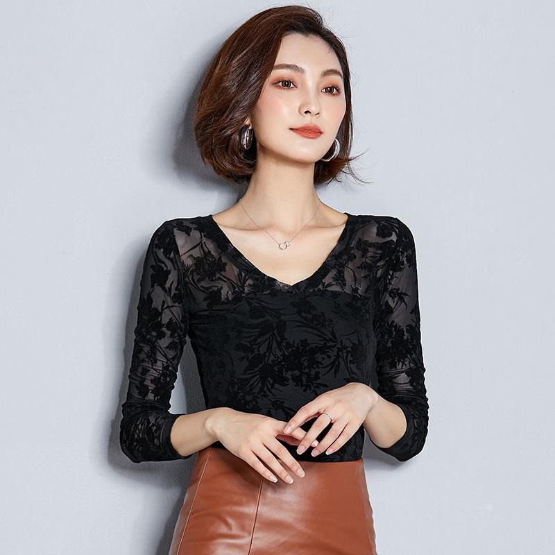 d85e910f3b50c0 2019 BOBOKATEER Sexy Lace Blouse Women Shirt Thin Long Sleeve Womens Tops  And Blouses Casual Blusas Mujer De Moda 2018 Chemise Femme From Yuedanya