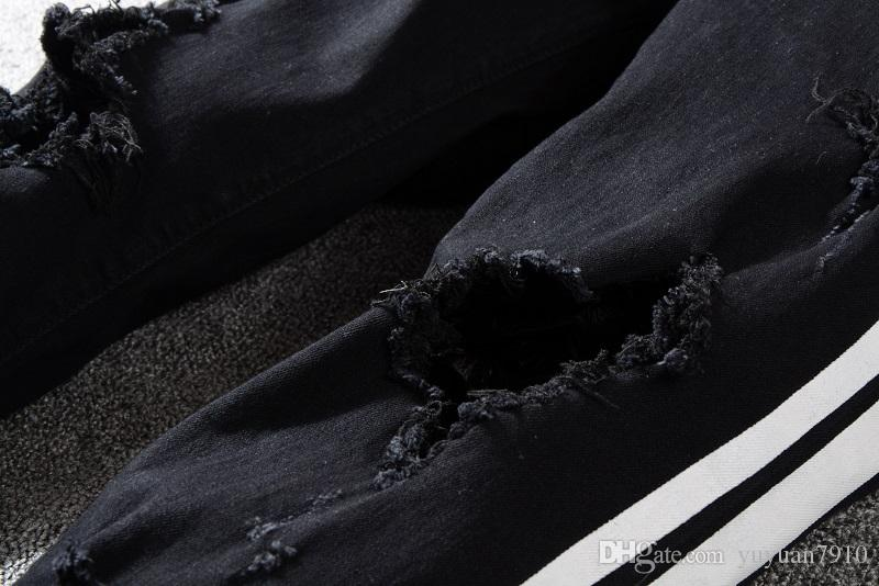 2019 New Holes Jeans Man Zipper Decoration Jeans Pants For Casual Slim Fit Fashion Clothing Rock Revival Jeans