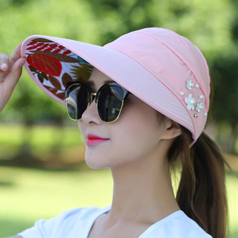 Foldable Fashion Women Summer Sun Hat Shades Beach Ladies Caps With Faux  Flower Pearls Designer Wide Brim Visors Hat Blue Pink Hats Bucket Hats From  ... 91bf632ea77d