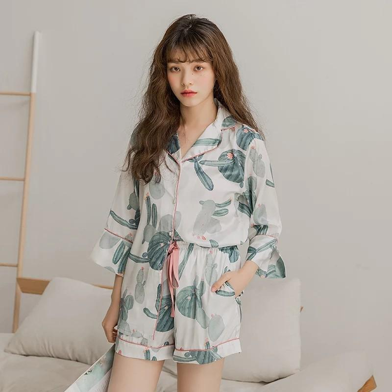 0656771944 2019 Ins Hot Summer Silk Womens Pajamas Nightly Sexy Lingerie Sleep Top  Pijamas Home Suit Sweet Cactus Full Printing Ladies Pyjamas From Dracaenor