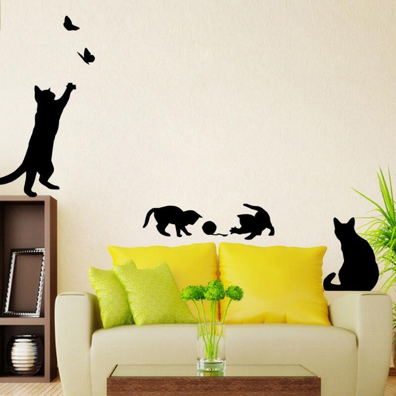 Pack Cat Play Butterflies Wall Sticker Removable Decoration Decals ...
