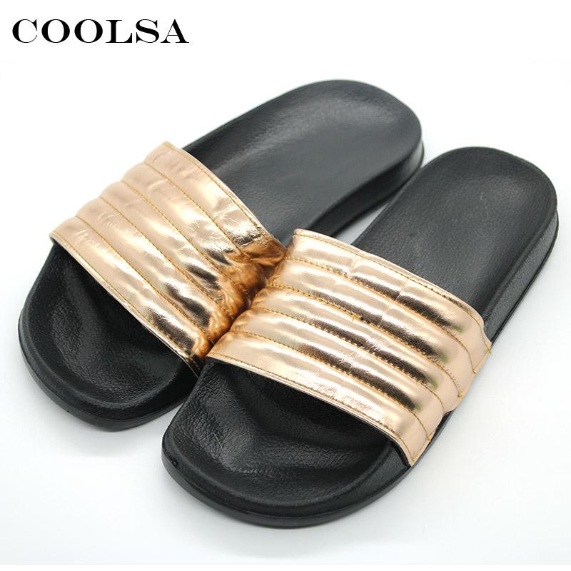 a7d971be8 Coolsa New Summer Women PU Slippers Bling Golden Sewing Flat Non Slip Soft  Slides Indoor Flip Flops Female Casual Beach Sandals Wedge Shoes Flat Shoes  From ...