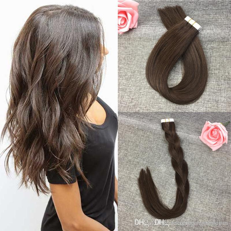 Tape In Remy Human Hair Extensions Seamless Hair Extensions 16 18 20