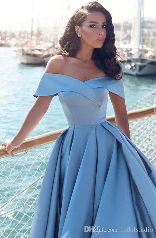 Light Blue Abendkleider weg von der Schulter Lange sexy Seite Split Satin Abendkleid Sweep Zug Elegante plus size formale Kleider