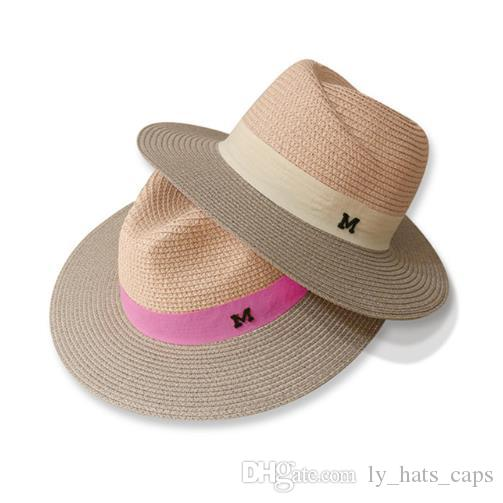 e43297627 dropshipping 2018 Hot sale summer sun hats for women M letter wide brim  ladies straw hat beach vacation girls panama hat