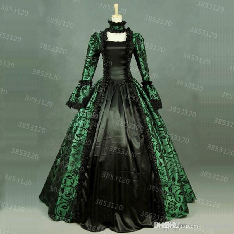 2019 18th Century Retro Royal Court Evening Gown Party Dresses Green Floral  Print Brocade Victorian Historical Dress Ball Gown Custom From Liqingping 639f3e3ed53b