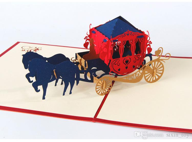 High Quality 3D Pop Up Paper Kirigami Wedding Invitations Love Carriage Postcards Wishes Gifts Creative Handmade Laser Cut Greeting Cards