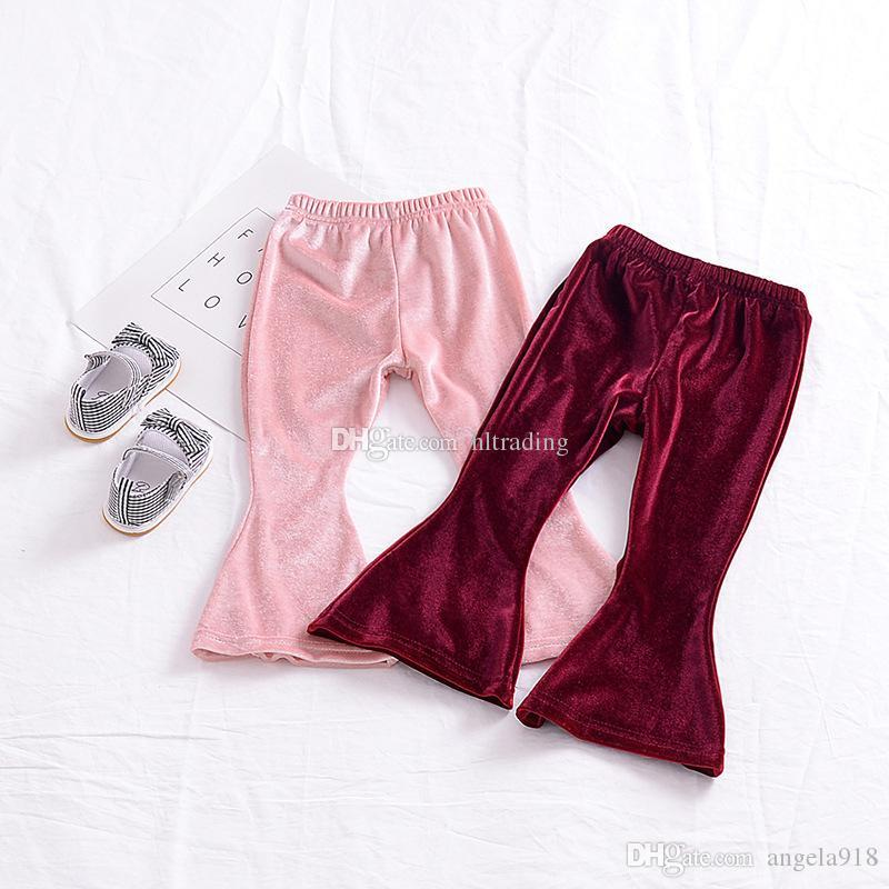 72a3512a2 Baby girls Gold velvet Flare pants INS Leggings children Trousers 2018 new  fashion kids Boutique Clothing C3646