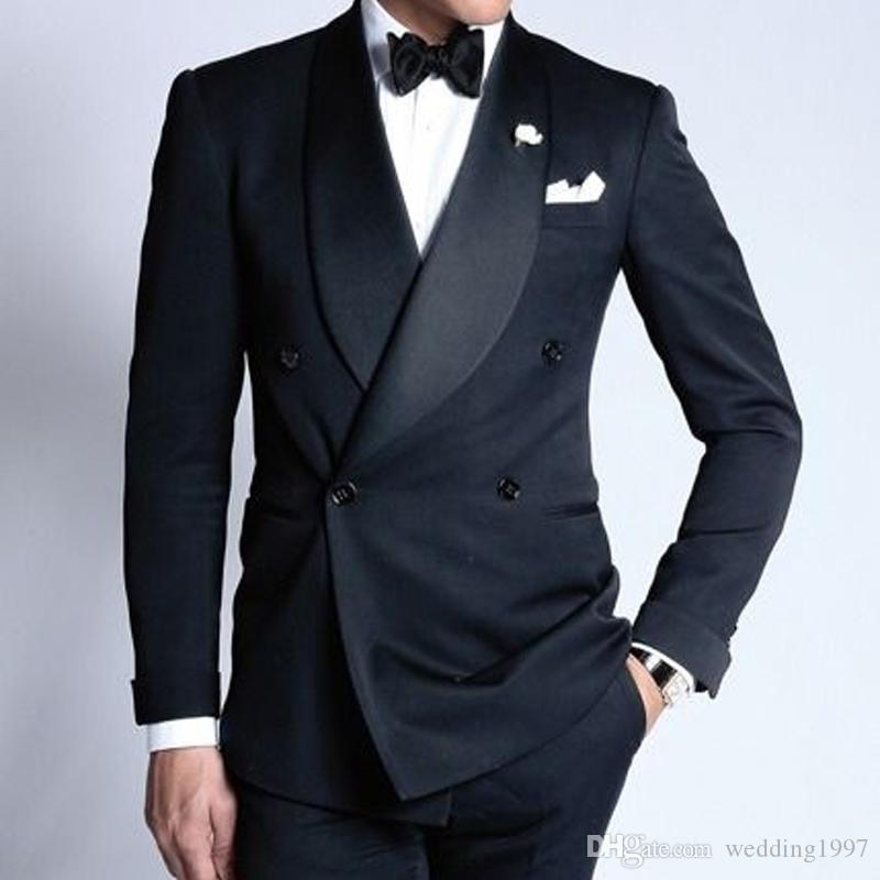 82a1b0a6b3a3 Double Breasted Navy Wedding Groom Tuxedos For Man Suits 2019 Shawl Lapel  Slim Fit Tailored Made Two Piece Male Blazer Cheap Tuxedos For Sale Colored  ...