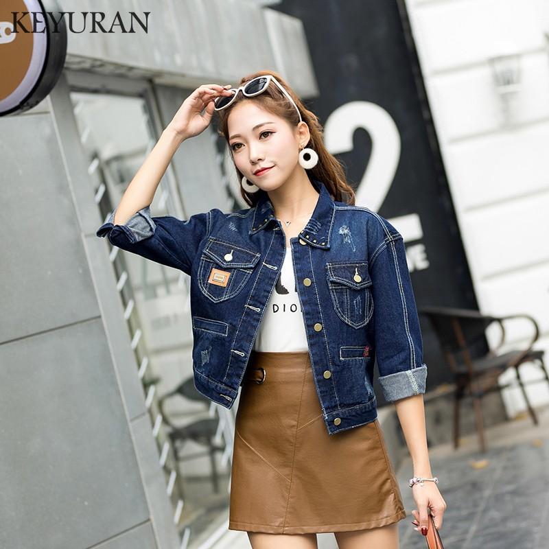 7d806669e65 2018 Boyfriend Vintage Rivet Women Plus Size Cropped Jean Jacket Blue  Bomber Short Denim Jackets Jaqueta Casual Hole Ripped Coat Baseball Jackets  Leather ...