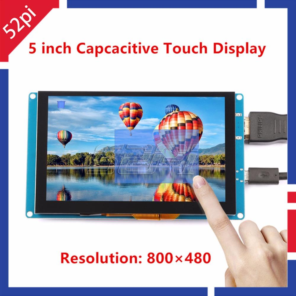 52Pi Ship from CN/US! Free Driver 5 inch 800*480 Display Capacitive Touch  Screen Monitor for Raspberry Pi/PC Windows Plug & Play
