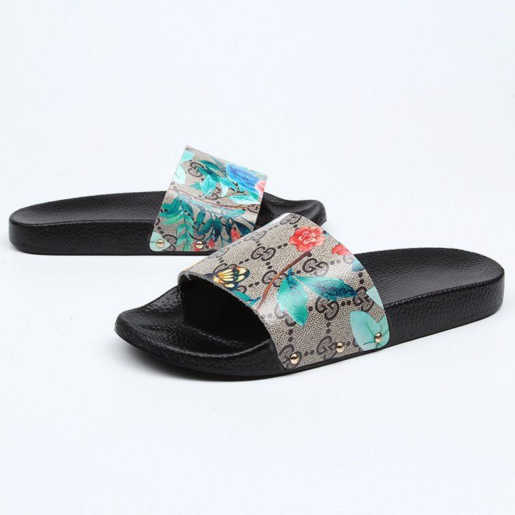 d9089f327870 Designer Rubber Slide Sandal Floral Brocade Men Slipper Gear Bottoms Flip  Flops Women Striped Beach Causal Slipper Wedge Shoes Flat Shoes From  Youyoukexing