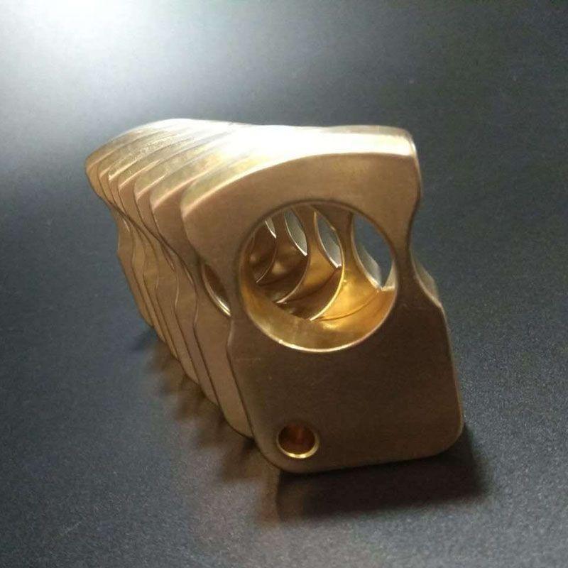 Yeni Pirinç EDC Tek Parmak Knuckle Duster Yüzük Açık Kendini savunma multi-fonksiyonel Halka Anti-kurt Dişli Ayna Cilalı Knuckles Toka