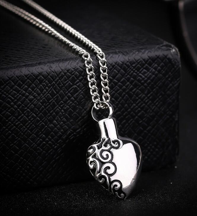 DHL Memorial Cremación Cenizas Urna Collar Amor Corazón Collar de plata Medallón Colgante Joyería de ceniza ósea Para Hombres Mujeres Colgante Regalo de Navidad
