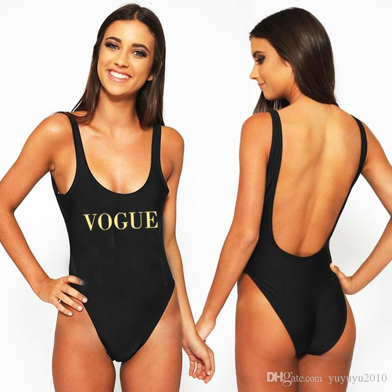 c62bbf8985bcd 2019 VOGUE Sexy Swimwear Women 2018 New Letter Print One Piece Swimsuit  Summer Bodysuit High Cut Low Back Bathing Suit Plus Size Red YWXK1803xx  From ...