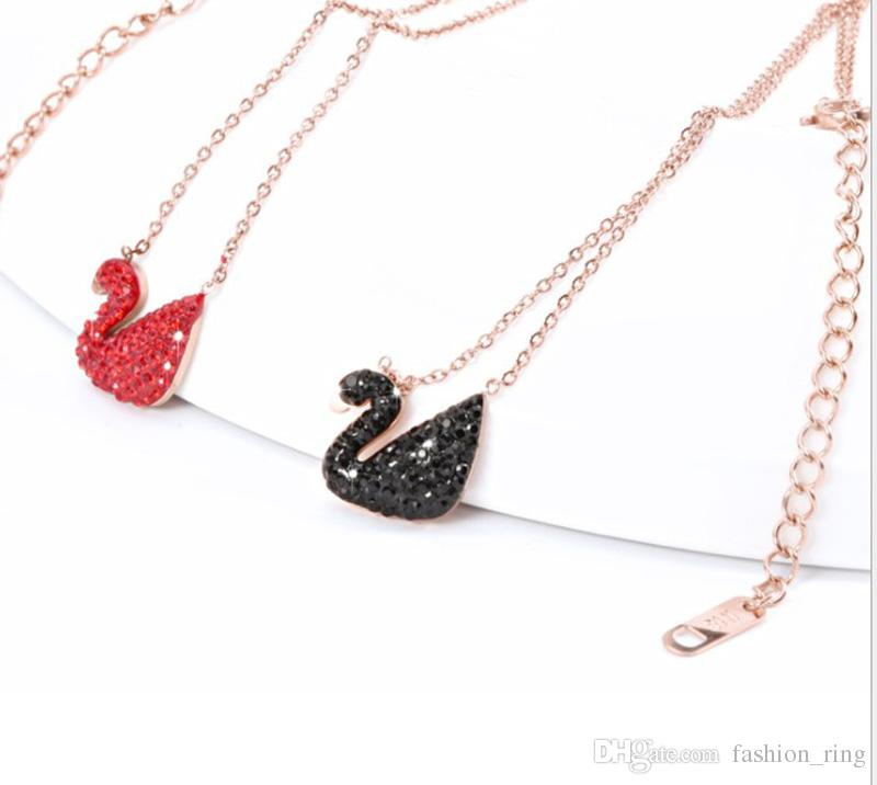 neuer Stil trendy koreanische Halskette Charme Cygnet Anhänger schwarz rot Diamant Bohren Fabrik Großhandel für Frauen
