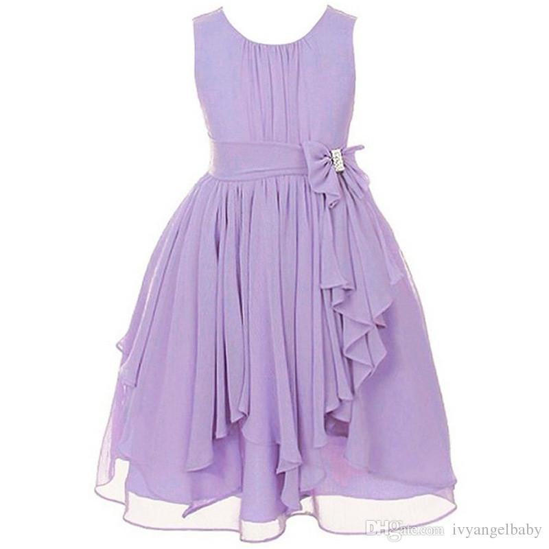 e0aa4b65bc2f4 2019 Girls Sleeveless Chiffon Dress Fashion Casual Irregular Ruffle Prom  Dresses Age For 8 16 Years From Ivyangelbaby