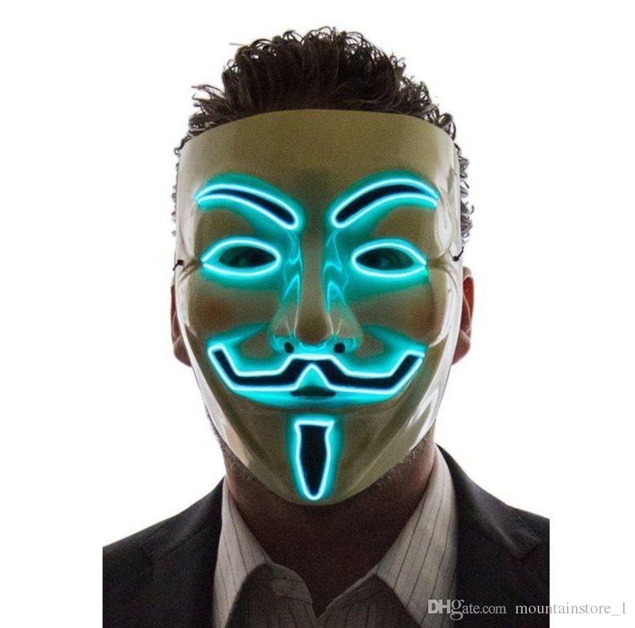 Hot Light Up LED Mask V for Vendetta Anonymous Guy Fawkes Costume Cosplay Cool