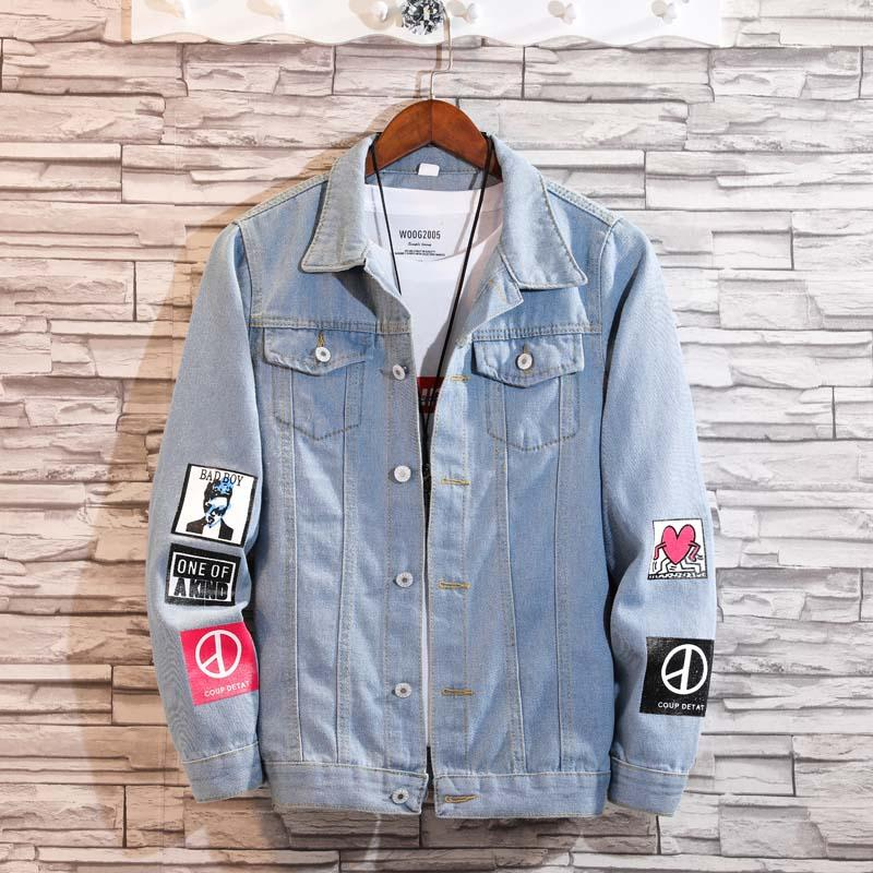 7a1e112199 2018 Men S Spring Retro Denim Jacket With A Long Sleeve Lapel Mens Jeans  Coat