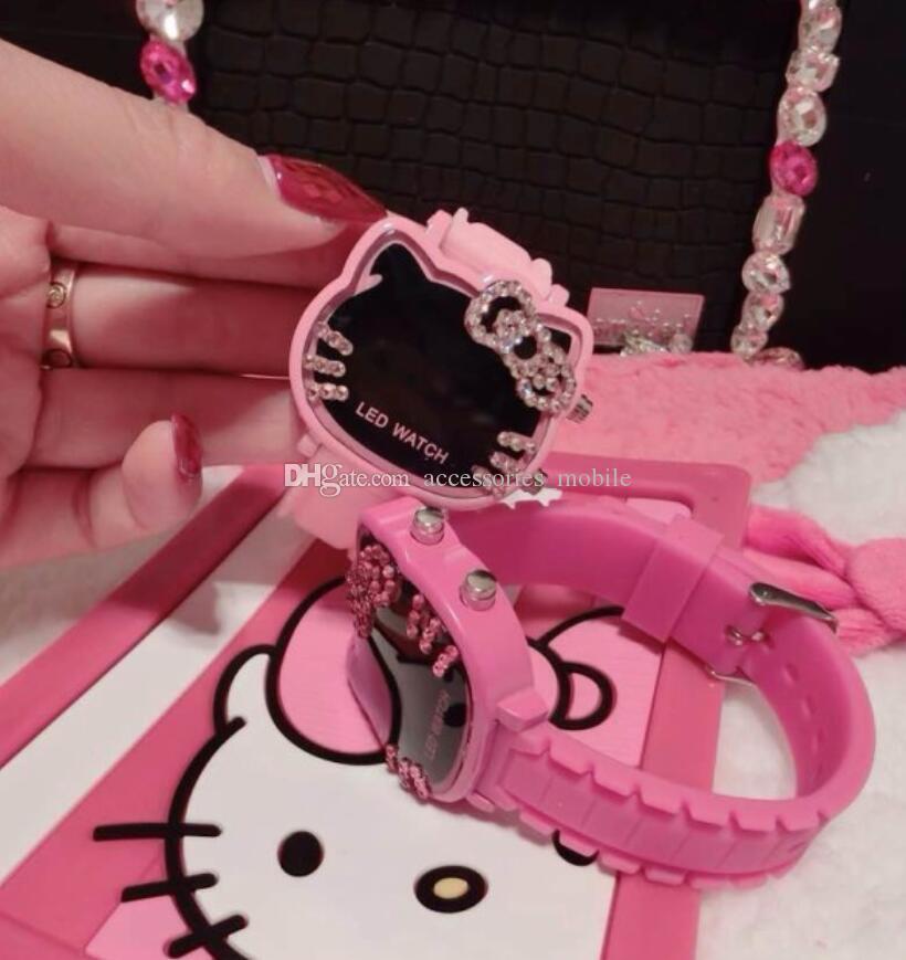 Nuevos relojes de diamantes Hello Kitty Ktmao led niños de dibujos animados Gift Girl Watch Watch y dhl gratis