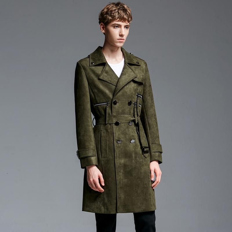 beautiful style durable service save up to 80% 2018 Plus size Men Long suede trench coat autumn spring double breasted  casual green army classic business trench 6XL