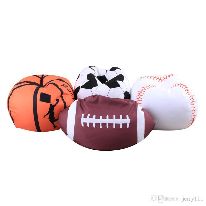 Toys Storage Bag Sitting Chair Bean Bags Fabric Kids Stuffed Clothing Organizer Animal Plush Football Soft Pouch Stripe LC797