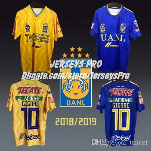 4d531d965 2019 Mexico League Mexican Tigers Tigres UANL Liga MX 2018 2019 18 19 Soccer  Jerseys Football Shirts Home Yellow Camiseta De Futbol Andre Gignac From  Unicef ...