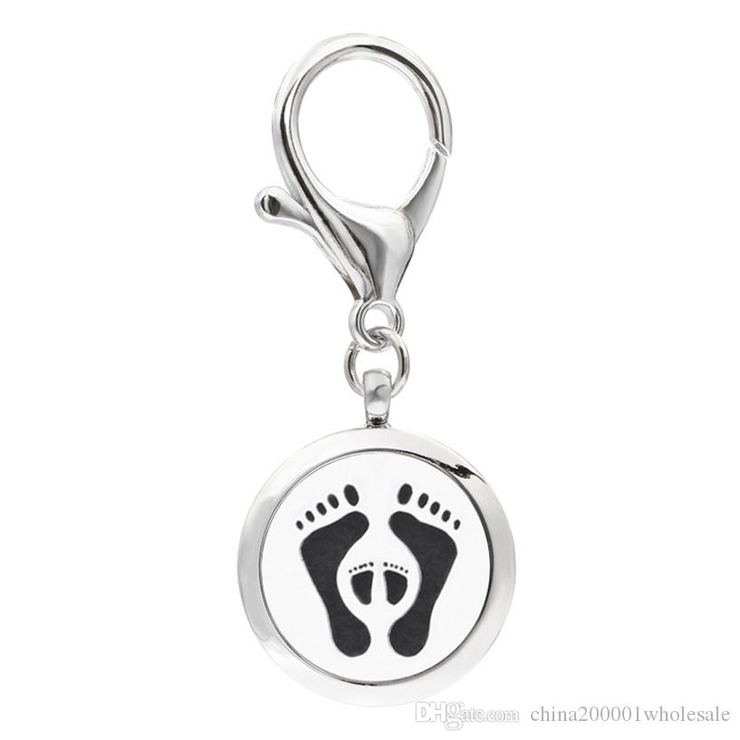 Baby Footprint KeyChain Essential Oil Aroma Diffuser Perfume Locket with Lobster clasp Keychain keyring With free Pads KA31-KA40