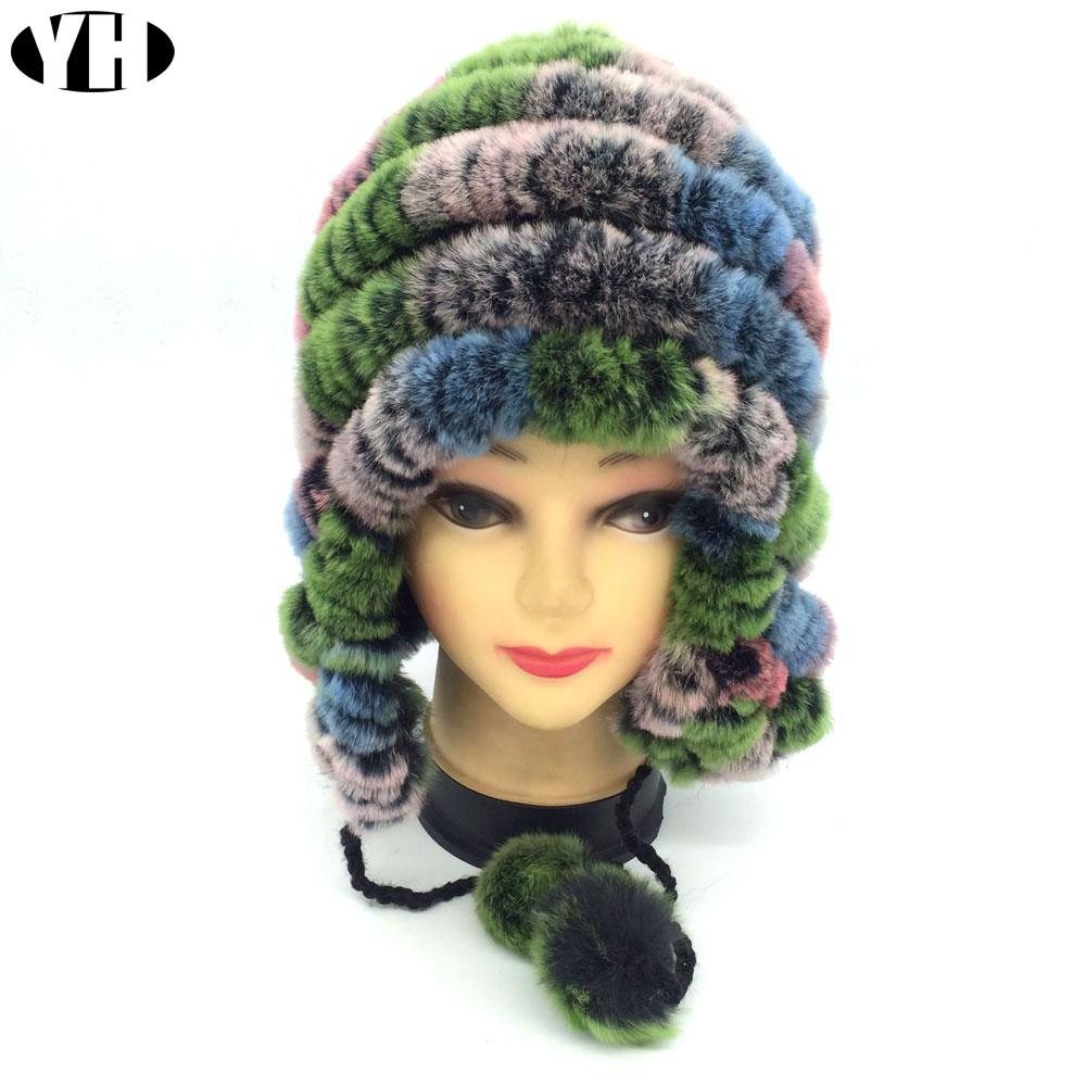2019 Winter Women Real Fur Hat Natural Rex Rabbit Fur Caps Bomber Hats Lady  Real Cap Ear Hat Warm Heargear Knitted From Watchesjewelry 84f482e73ab