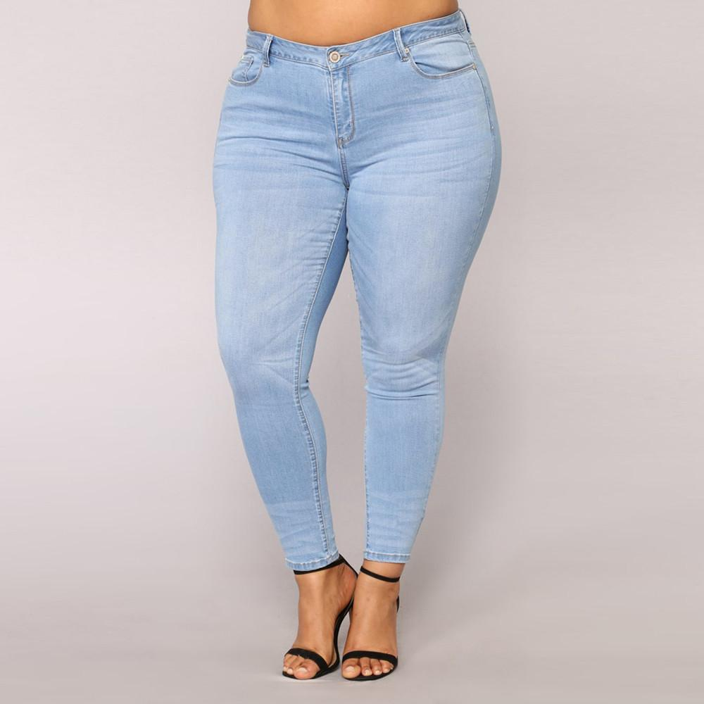 ee7098afe9a8a 2019 Women Plus Size Ripped Stretch Slim Denim Skinny Jeans Pants High  Waist Trousers Full Length Pants Loose Cowboy From Pulchritude