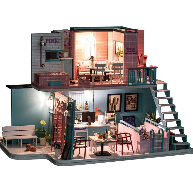 New Doll House Toy Miniature Wooden Doll House Loft With: Brand DIY Double Loft Doll House Furniture Kits Wooden
