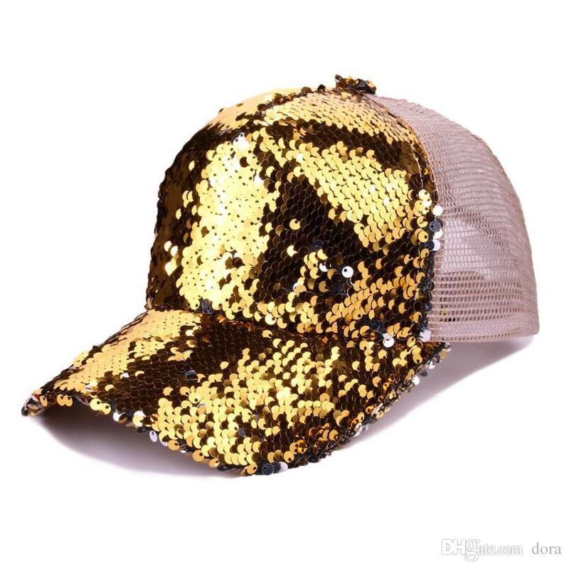 29fa4668317 Fashion Sequins Baseball Cap Women Girls Adjustable Shinning Mesh ...