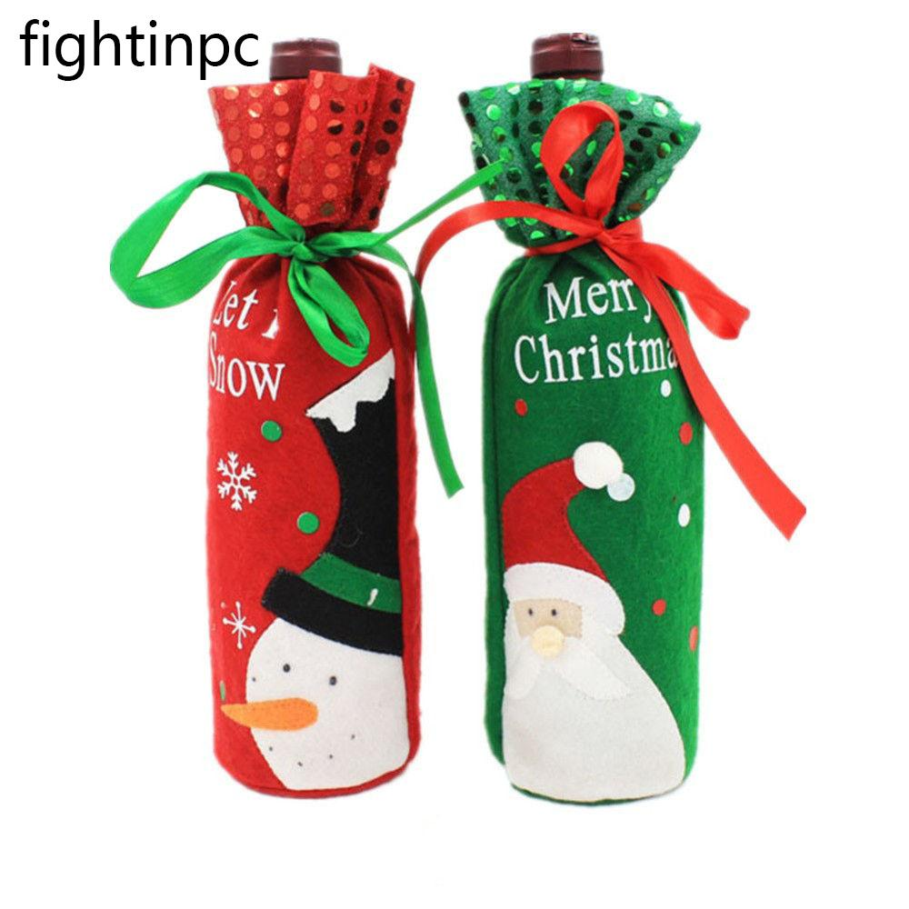 Santa Claus Snowman Wine Bottle Coat Bag Christmas Dinner Xmas Table Decor 1 Pcs
