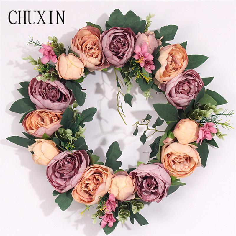 Satın Al Boyama Yapay şakayık çelenk Kapı Lintel çiçek Ayna çiçekler