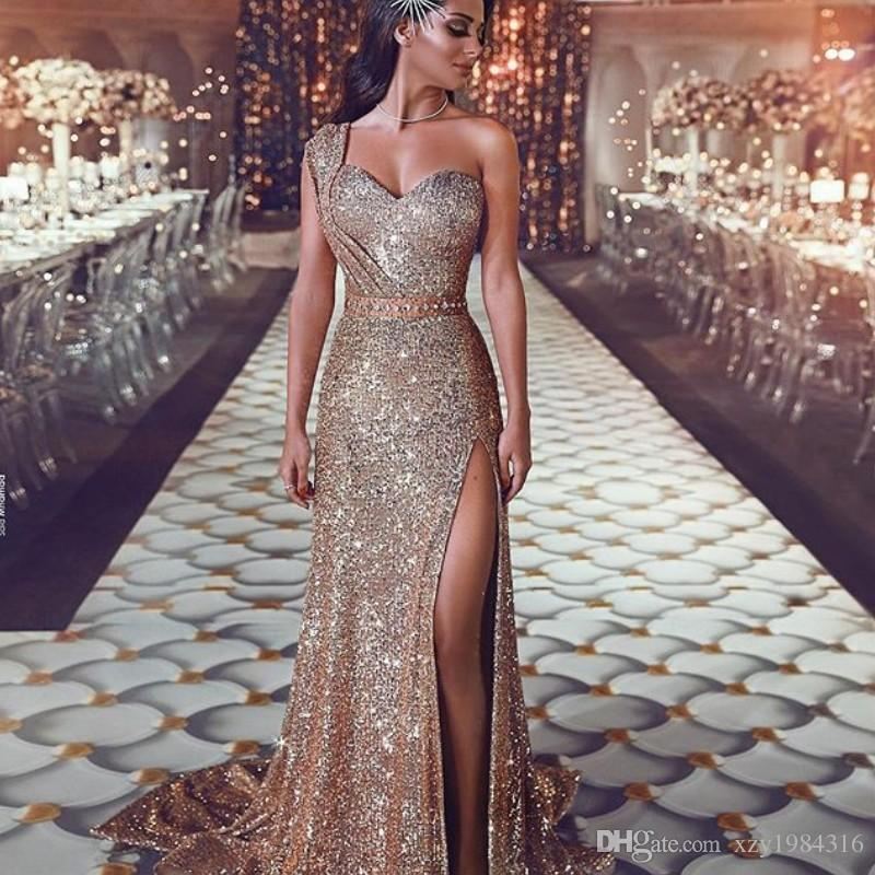 Glamorous Golden Sequined Prom Dresses Chic One Shoulder Sweetheart Beaded  Sash Party Gowns Sexy High Side Slit Mermaid Evening Dresses Super Cheap  Prom ... 91850bc37