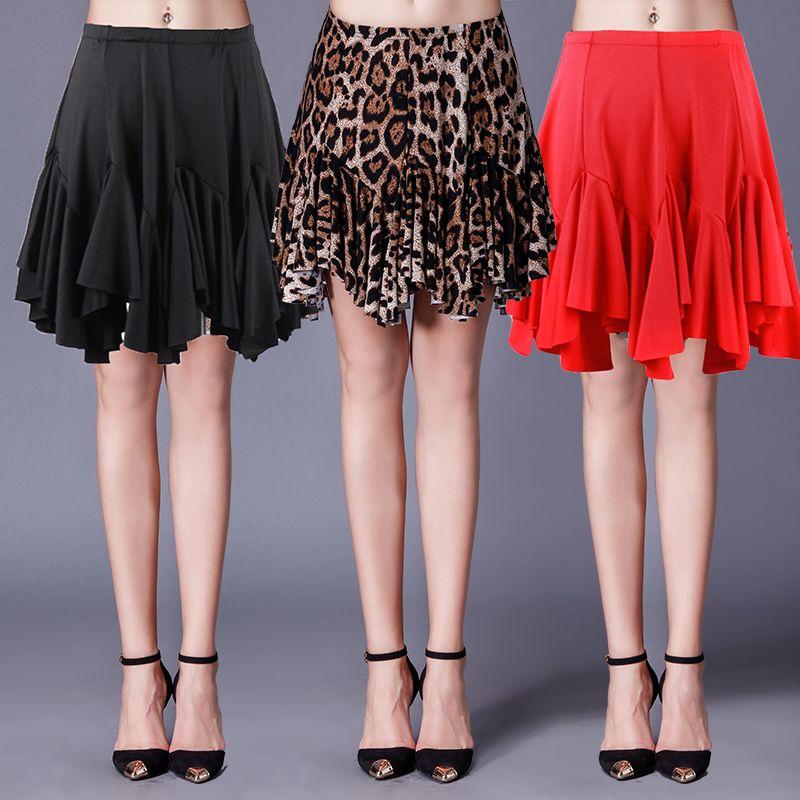 New Latin Dance Skirt Adult Skirt Sides Drawstring Latin Dance Costume  Competition Leopard Red Black L-31