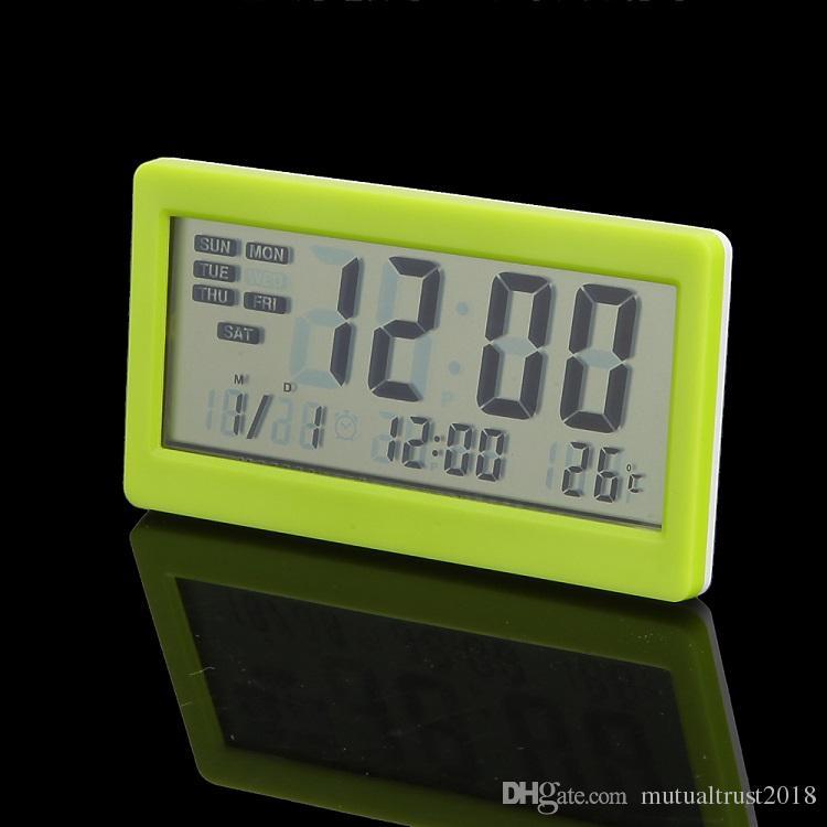 المنبه الرقمية الوقت التقويم ميزان الحرارة شاشة LCD داخلي درجة الحرارة متر طوي ساعة مكتب مع تاريخ DC208 في صندوق البيع بالتجزئة