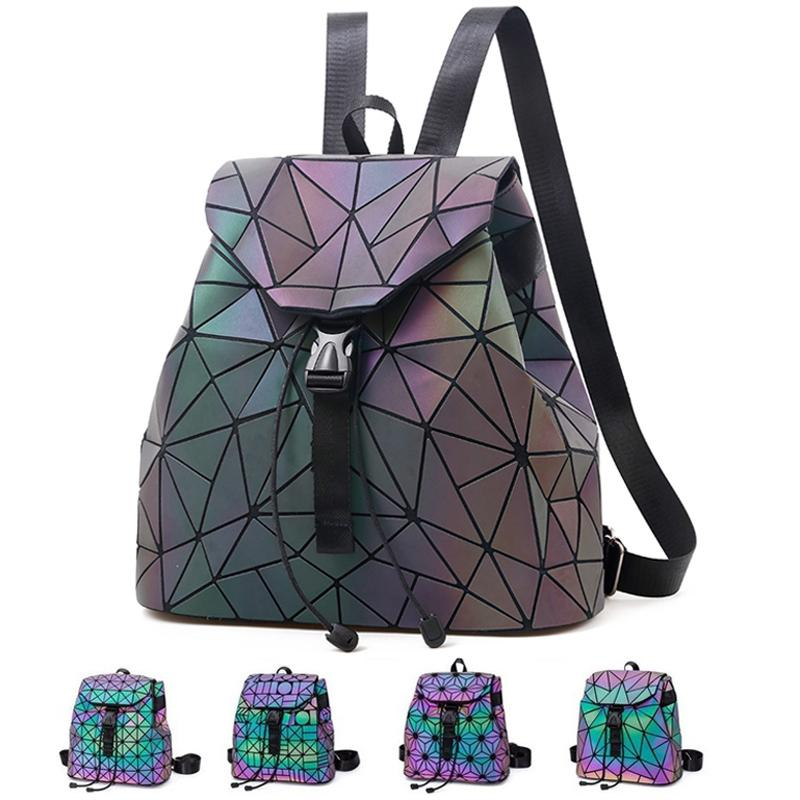 479982162 Luminous Backpack Women Mini Leather Geometric Reflective Backpacks School  Lattice Holographic Backpack Female Bags Girl Travel