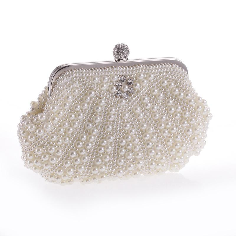 7841e1c24831 New Pearls Clutch Bag White Evening Bags Beaded Women Shoulder Bags Wedding  Party Purse Diamonds Clutch Bag