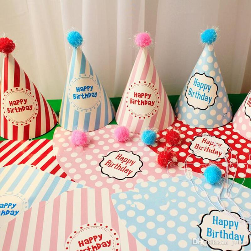 Cute Birthday Pointed Hat Prince Princess Dot Paper Caps Children Headwear Birthday Party Dress Decoration